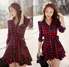 US Womens Ladies Casual Flannel Plaid Check Button Down Top Layer Shirt Dress