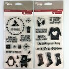 Jillibean Soup Lot Of 2 Christmas Clear Stamp Sets Sweater Stocking Penguin Bear