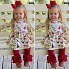 US Christmas Toddler Baby Girl Winter Clothes Tops Dress Ruffle Pants Outfit Set