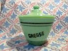 Jadeite Green Glass Black Letter Grease Jar / Lid in Excellent Condition
