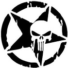 2 Army Military Star Punisher Skull Vinyl Decal Sticker Hood Door Roof black out