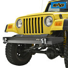 EAG Black Steel Front Bumper W D ring Textured Fit 87 06 Jeep Wrangler TJ YJ