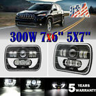 5x7 7x6 LED Headlight Hi Lo Beam Halo DRL For Jeep Cherokee XJ YJ 300W