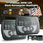5x7 7x6 PRO LED Headlight Hi Lo Beam Halo DRL For Jeep Cherokee XJ YJ