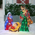 Metal look Light Up LED Nativity Scene Outdoor Christmas Dcor 3 pc 60 LED Light