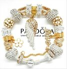 AUTHENTIC PANDORA SILVER CHARM BRACELET GOLD CRYSTAL ANGEL WING EUROPEAN CHARMS
