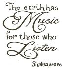 Music Shakespeare Quote Saying Wood Mounted Rubber Stamp NORTHWOODS CC10205 New