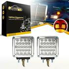2pcs Clear Amber+Red 52 LED Chrome Stop Turn Tail Square Stud Pedestal Lights