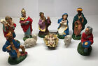 Vintage Italian Nativity Set Figures Made in Italy 10 Pc Chalkware MCM