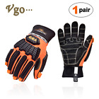 Vgo Antivibration Oil-proof Impact Protection Leather Safety Work Glovessl9679