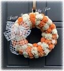 WHITE  ORANGE FOAM FLOWER WREATH FALL FLOWER WREATH FOAM FLOWER WREATH