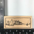 Stampendous Sailboat Bay Wood Mounted Rubber Stamp Ocean Water Sea Scene Boat