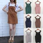 Women Corduroy Strap Suspender Skirt Lady Overall Vest Jumpsuit A-Line Dress