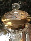 Vintage Clear Glass and Heavy Gold Trim Pedestal Candy Dish~Holiday