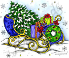 Christmas Tree Gifts Sleigh Wood Mounted Rubber Stamp NORTHWOODS P10333 New
