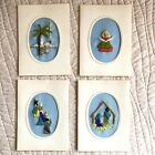 Vintage Nativity Wall Decor Handmade Crewel Embroidery Cards Set 4 Lot Christmas