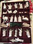 Vtg Rare 1984 Roman Inc White Christmas Nativity Ornaments Light Covers Retired