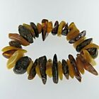 Natural Genuine Multi Color Lithuanian BALTIC AMBER Stretch Bracelet 0099