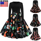Women Ladies Long Sleeve Vintage Dress Swing Flared Christmas Xmas Party Evening