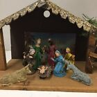 Vintage Wood Christmas Creche Nativity Manger Stable Figures Lighted Baby Jesus