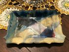 Ayers Studio Art Pottery Blue Yellow Red Tray Platter Dish Hand Crafted Signed