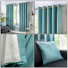 Fusion Duck Egg Blue Eyelet Curtains 100 Cotton Lined Ring Top Curtains Pair