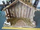 VTG LARGE Wooden Handcrafted Nativity Creche Stable Christmas Manger 14x20