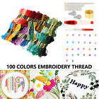 100 Multi Colors Cross Stitch Cotton Sewing Skeins Embroidery Thread Floss Kit