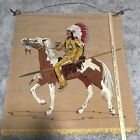 Vtg Native American 41 x 35 Lighted Wall Hanging Tapestry Mural w Wood Dowel