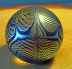 Steven CORREIA Paperweight Feather Art Glass Iridescent Blue Gold Purple Signed