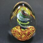 Art Glass Paperweight Clear Spiral Swirl Egg Shape Art Deco Hand Blown Colorful