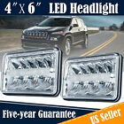 2PCS 45W 4X6 Rectangle LED Headlight High Low Beam For Jeep Wrangler Cherokee