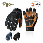 Vgo 3pairs Deer Split Leather Work Glovesheavy Duty Mechanic Glovesdb9704