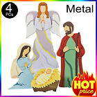 Outdoor Christmas Nativity Scene w Angel Yard Decorations Decor Set Metal 4Pc