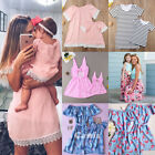 US Mother Daughter Family Matching Dress Mommy and Me Floral Maxi Dresses Outfit
