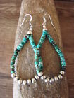 Navajo Indian Hand Beaded Blue Turquoise and Desert Pearl Earrings by Jake