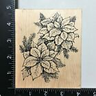 Northwoods Poinsettias Wood Mounted Rubber Stamp Christmas Flower Holiday