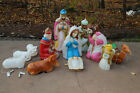 VINTAGE BLOW MOLD NATIVITY SCENE THIRTEEN PIECE WISE MEN CAMEL SHEEP COW +++