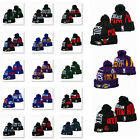Embroidered All NBA Team Logo Pom Skull Beanie Cap Winter Warm Basketball Hat