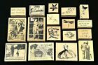 LOT OF 17 INKADINKADO WOOD MOUNTED RUBBER STAMPS BRAND NEW
