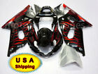 For Suzuki GSXR GSX-R 600/750 2001-2003 ABS Bodywork Fairing Kit Black Red Flame