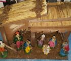 Vtg Sears Classic Nativity Set 7 Figurines wood manger Italian