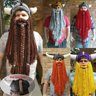 Knitted Barbarian Vagabond Mask Crazy Ski Cap Beanie Viking Horn Hat Long Beard