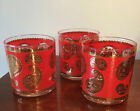 VTG Culver Retro MCM Red And Gold Paisley (Set 3) Low Ball Glasses On The Rocks