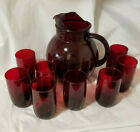 Vintage Ruby Red Depression Tall Round Glass Pitcher + 8 Glasses