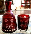 OLD VINTAGE HAND BLOWN  CUT TO CLEAR CZECH BOHEMIAN DEEP RUBY 2 PC WATER SET