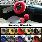 3Pcs Universal Fur Car Steering Wheel Wool Furry Fluffy Thick Cover Warm Winter