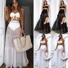 Women Mesh Sheer Maxi Skirt Wrap Skirt Beach Tulle Transparent See Through Dress