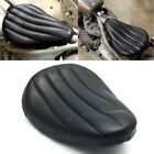 Black Tuk  Roll Leather Solo Seat for Harley Chopper Bobber Dyna Softail Sports