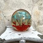 Vintage Large Heavy Art Glass Paperweight Red Turquoise